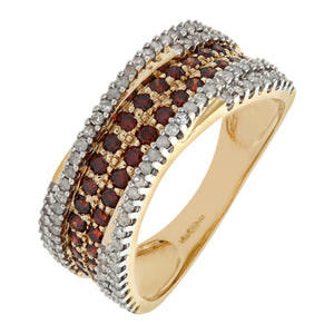 9ct Yellow Gold Orange Diamond Multi Row Eternity Ring