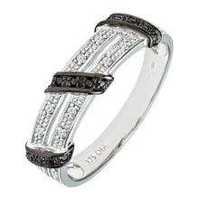 Load image into Gallery viewer, 9ct White Gold Black Diamond Twist Ribbon Eternity Ring