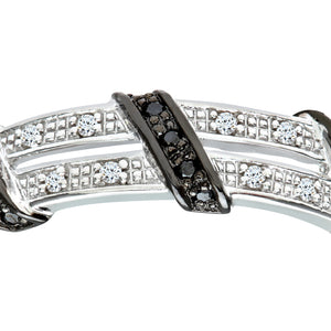 9ct White Gold Black Diamond Twist Ribbon Eternity Ring