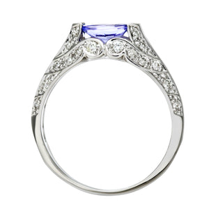 9ct White Gold Oval Tanzanite Ring With Diamond Set Shoulders