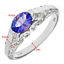 Load image into Gallery viewer, 9ct White Gold Oval Tanzanite Ring With Diamond Set Shoulders