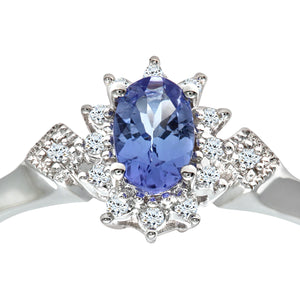 9ct White Gold Oval Tanzanite Cluster Ring With Diamond Shape Set Shoulders