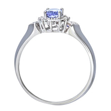 Load image into Gallery viewer, 9ct White Gold Oval Tanzanite Cluster Ring With Diamond Shape Set Shoulders