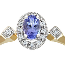 Load image into Gallery viewer, 9ct Yellow Gold Oval Tanzanite and Pave Set Cluster Ring