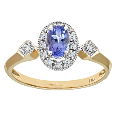 9ct Yellow Gold Oval Tanzanite and Pave Set Cluster Ring