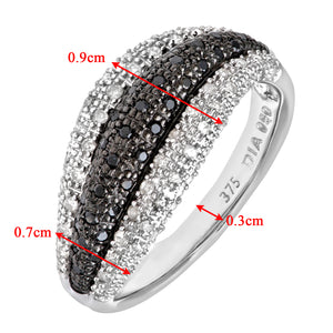 9ct White Gold Black Diamond Wave Eternity Ring