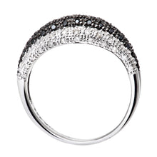 Load image into Gallery viewer, 9ct White Gold Black Diamond Wave Eternity Ring