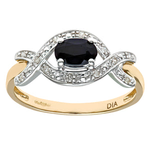 Ladies 9ct Yellow Gold Fancy Diamond and Sapphire Ring