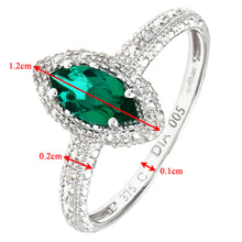Load image into Gallery viewer, 9ct White Gold Created Emerald And Diamond Marquise Cluster Ring