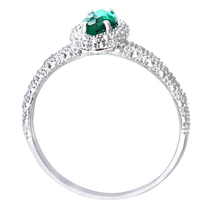 9ct White Gold Created Emerald And Diamond Marquise Cluster Ring