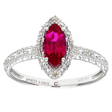 9ct White Gold Created Ruby And Diamond Marquise Cluster Ring