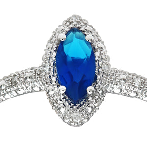9ct White Gold Created Sapphire And Diamond Marquise Cluster Ring