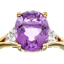 Load image into Gallery viewer, 9ct Yellow Gold Oval Amethyst And Diamond Ring
