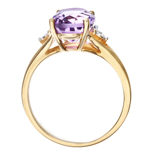 9ct Yellow Gold Oval Amethyst And Diamond Ring