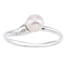 Load image into Gallery viewer, 9ct White Gold, 0.01ct Diamond with White Cultured pearl Ring