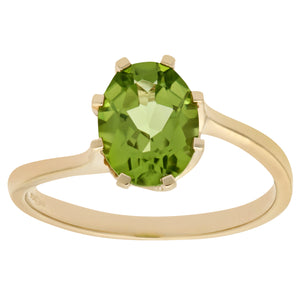 Ladies 9ct Yellow Gold Peridot Dress Ring