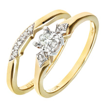 Load image into Gallery viewer, 9ct Yellow Gold 0.10ct Diamond Bridal Set Ring