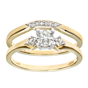 9ct Yellow Gold 0.10ct Diamond Bridal Set Ring