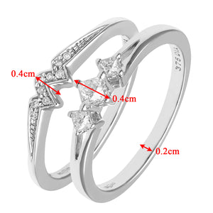 9ct White Gold 0.33ct Princess Cut Diamond Bridal Set Ring