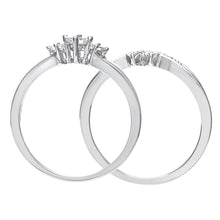 Load image into Gallery viewer, 9ct White Gold 0.33ct Princess Cut Diamond Bridal Set Ring