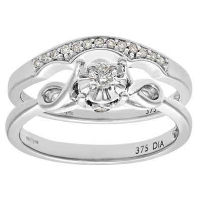 9ct White Gold 0.15ct Diamond Bridal Set Bow Ring