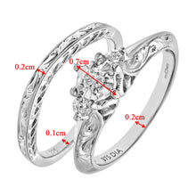 Load image into Gallery viewer, 9ct White Gold 0.12ct Diamond Fancy Bridal Set Ring