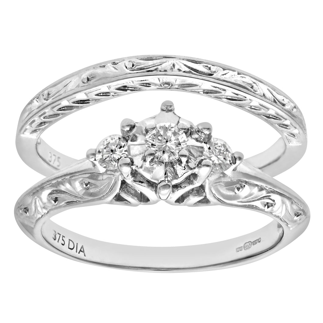 9ct White Gold 0.12ct Diamond Fancy Bridal Set Ring