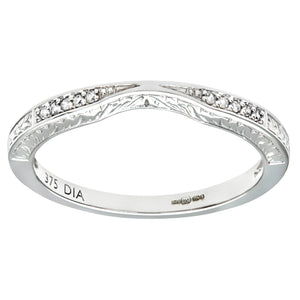 9ct White Gold Diamond Pave Set Wave Eternity Ring