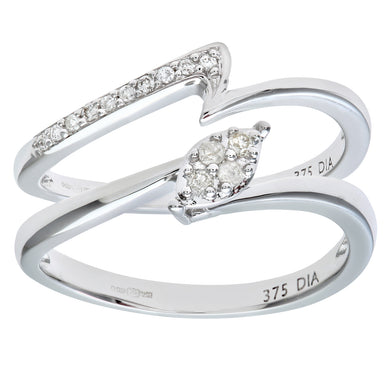 9ct White Gold 0.10ct Diamond Crossover Bridal Set Ring