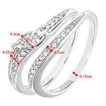 Load image into Gallery viewer, 9ct White Gold 0.15ct Diamond Bridal Set Wave Ring