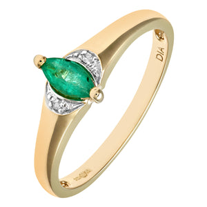 Ladies 9ct Yellow Gold Diamond & Marquise Emerald Ring