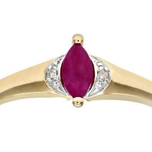 Ladies 9ct Yellow Gold Diamond & Marquise Ruby Ring