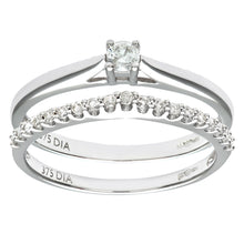 Load image into Gallery viewer, 9ct White Gold 0.25ct Diamond Bridal Set Wishbone Ring