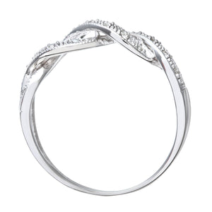 9ct White Gold 0.10ct Diamond Crossover Ring