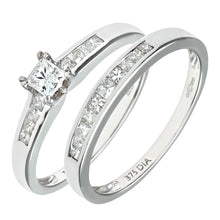 Load image into Gallery viewer, 9ct White Gold Channel Set 0.50ct Princess Cut Diamond Bridal Set Ring