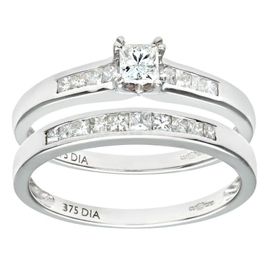 9ct White Gold Channel Set 0.50ct Princess Cut Diamond Bridal Set Ring
