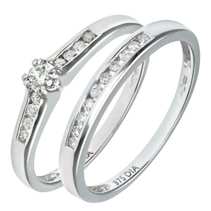 9ct White Gold Channel Set 0.25ct Princess Cut Diamond Bridal Set Ring