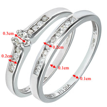 Load image into Gallery viewer, 9ct White Gold Channel Set 0.25ct Princess Cut Diamond Bridal Set Ring