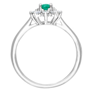 Cluster Ring, 18ct White Gold Diamond and Emerald Ring, 0.33ct Diamond Weight