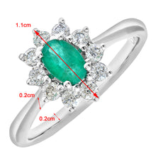 Load image into Gallery viewer, Cluster Ring, 18ct White Gold Diamond and Emerald Ring, 0.33ct Diamond Weight