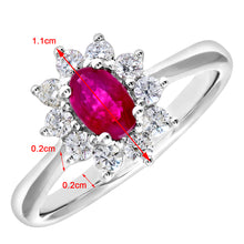 Load image into Gallery viewer, Cluster Ring, 18ct White Gold Diamond and Ruby Ring, 0.33ct Diamond Weight