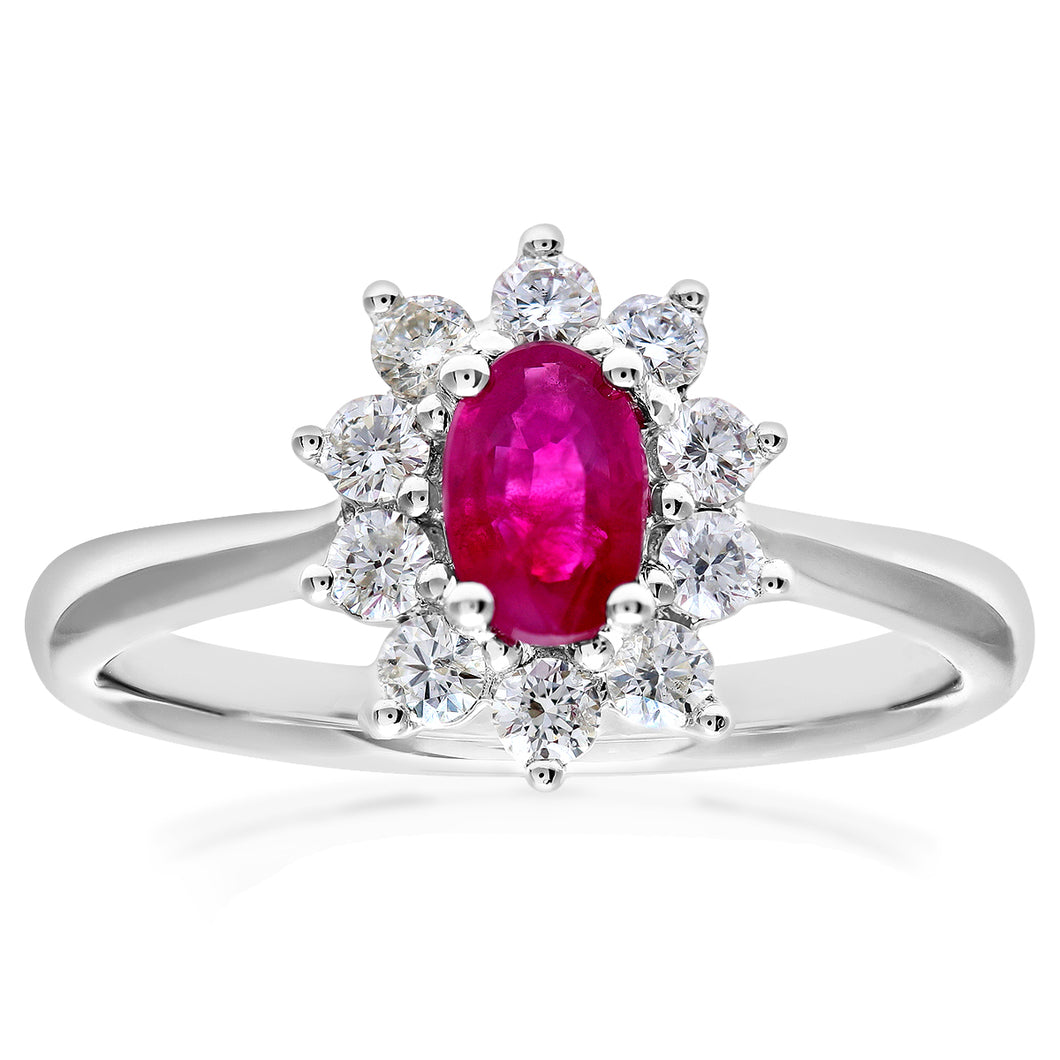 Cluster Ring, 18ct White Gold Diamond and Ruby Ring, 0.33ct Diamond Weight