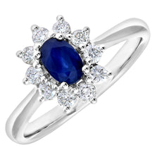 Load image into Gallery viewer, Cluster Ring, 18ct White Gold Diamond and Sapphire Ring, 0.33ct Diamond Weight