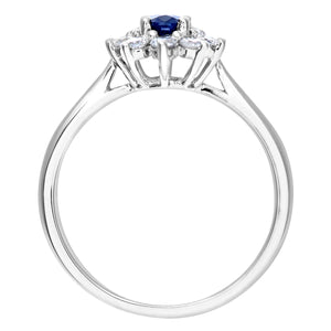 Cluster Ring, 18ct White Gold Diamond and Sapphire Ring, 0.33ct Diamond Weight