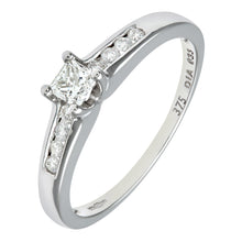 Load image into Gallery viewer, 9ct White Gold 33Pts Princess Cut Diamonds With Diamond Shoulders Ring