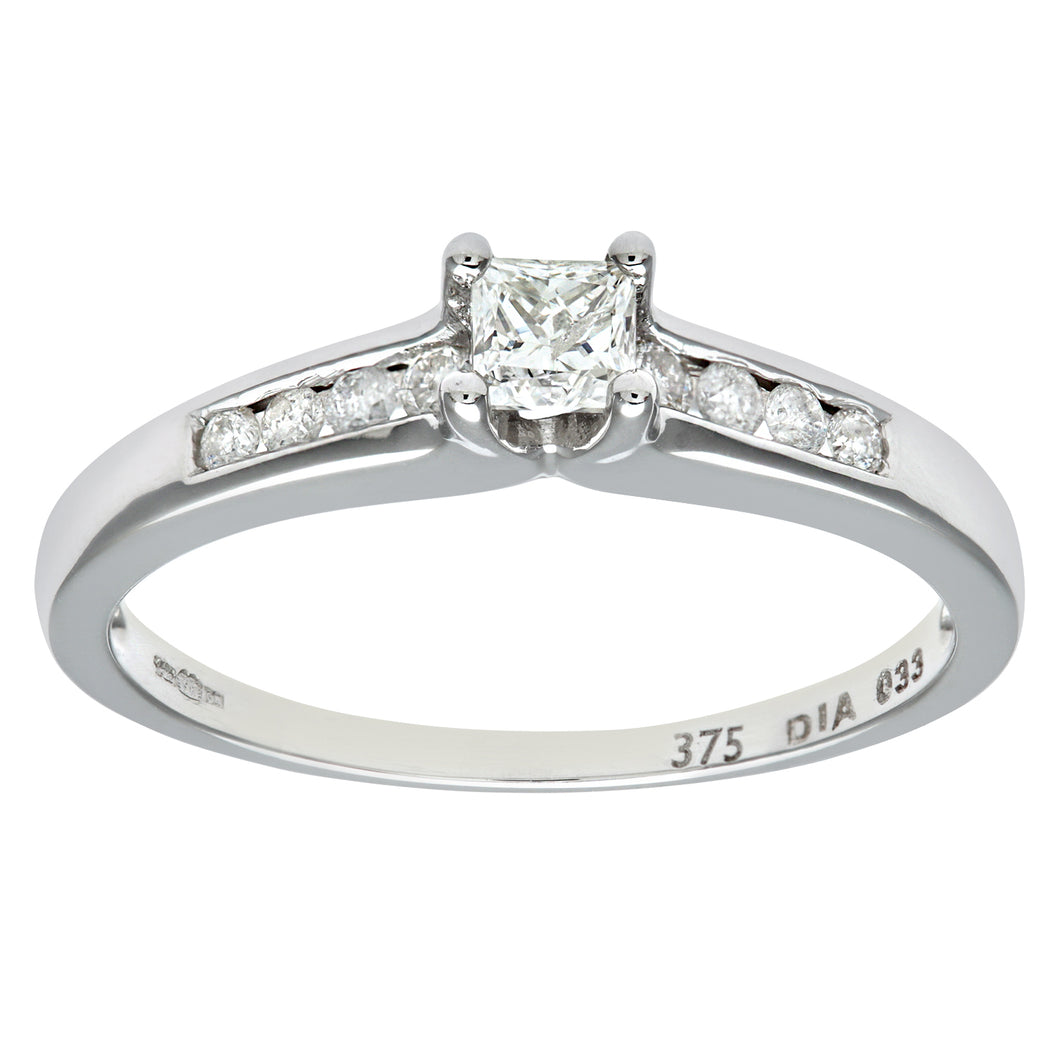 9ct White Gold 33Pts Princess Cut Diamonds With Diamond Shoulders Ring
