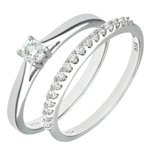 Load image into Gallery viewer, 9ct White Gold 0.33ct Diamond Bridal Set Ring