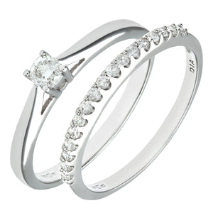 9ct White Gold 0.33ct Diamond Bridal Set Ring
