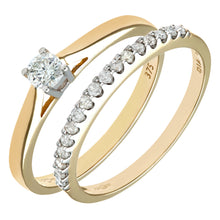 Load image into Gallery viewer, 9ct Yellow Gold 0.33ct Diamond Bridal Set Ring