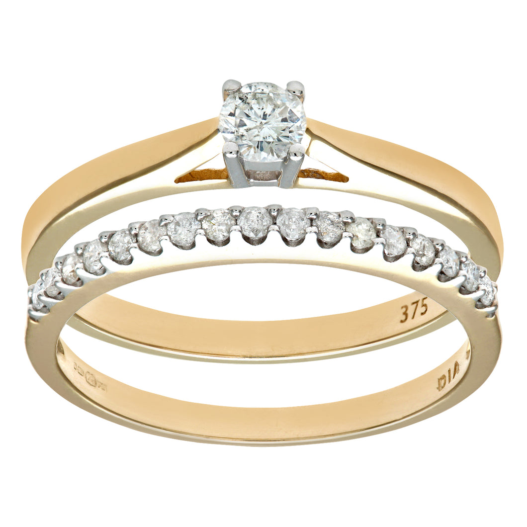 9ct Yellow Gold 0.33ct Diamond Bridal Set Ring